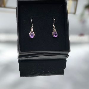 Jewelry - 14K 2.32ct. Amethyst Diamond Accent Drop Dangle